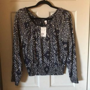 H & M blouse with elastic gather waist